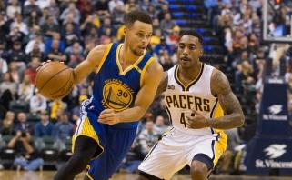"""""""Warriors"""" svečiuose nušlavė """"Pacers"""", J.Hardenas smaginosi Detroite"""