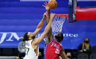 NBA lyderių dvikovoje – Goberto gynybą į šipulius daužiusio Embiido triumfas (rezultatai)