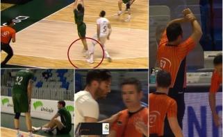 Už kojos kyštelėjimą gavęs nesportinę, o vėliau ir išvytas Fernandezas spaudė ranką teisėjui