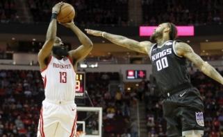 """Sau priklausantį NBA rekordą pagerinęs Hardenas paliko """"Kings"""" už borto (rezultatai)"""