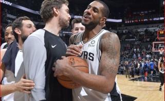 """Įsimintina """"Spurs"""" ir """"Thunder"""" akistata: du pratęsimai bei daugiau nei pusšimtis """"centro"""" taškų"""