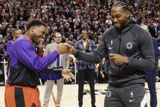 Toronte šiltai sutiktam K.Leonardui įteiktas NBA žiedas, jis pats buvusiai komandai nenuolaidžiavo