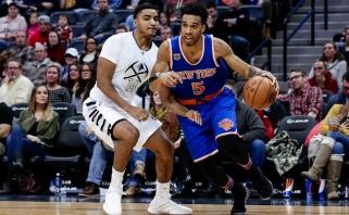 """""""Knicks"""" nusileido """"Nuggets"""" ekipai, M. Kuzminskui - simbolinis vaidmuo"""