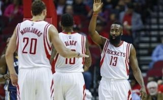 """""""Rockets"""" - džiaugsmas dėl D.Motiejūno sugrįžimo, J.Hardenas trina rankomis"""