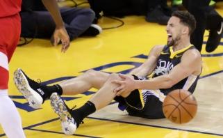 """""""Warriors"""" bėdos tęsiasi: visą sezoną praleidęs K.Thompsonas patyrė sunkią traumą"""