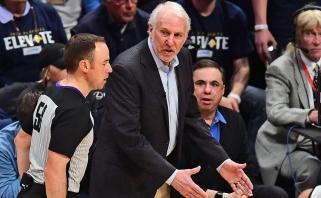 """Po trejų metų taškus NBA atkrintamosiose pelnęs Motiejūnas ir """"Spurs"""" suklupo Denveryje"""