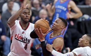 """Įspūdingai žaidęs R.Westbrookas neišgelbėjo """"Thunder"""", D. Sabonio indėlis - minimalus"""