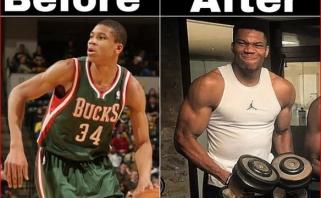 G.Antetokounmpo žaisdamas NBA priaugo 23 kg raumenų