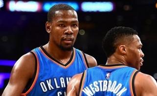 """K.Durantas su R.Westbrooku pelnė daugiau negu pusę """"Thunder"""" taškų (rezultatai)"""