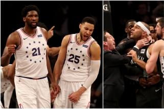 """Emocijų kupiname mūšyje triumfavę """"76ers"""" trečią kartą iš eilės įveikė """"Nets"""""""