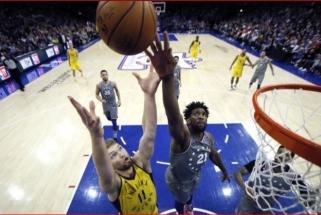"""D.Sabonis nesulaikė J.Embiido, bet pakartojęs rekordą padėjo """"Pacers"""" laimėti"""