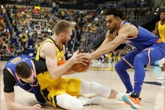 """D.Sabonis sustiprino savo pozicijas NBA lyderių sąraše, """"Pacers"""" pratęsė pergalių seriją"""