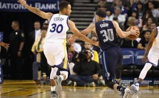 NBA: brolių Curry kaktomuša ir J.Hardeno siautulys San Antonijuje (rezultatai)