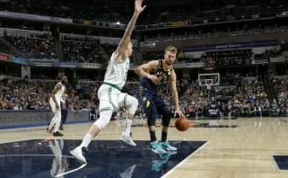 """Arti trigubo dublio likęs D.Sabonis solidžiai prisidėjo prie pergalės prieš """"Celtics"""""""