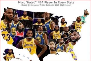 L.Jamesas - nekenčiamiausias krepšininkas daugumoje valstijų