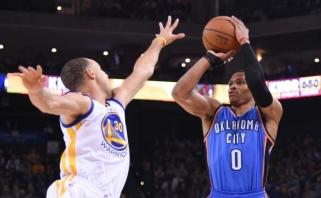 """""""Thunder"""" triuškinama pergalė – smūgis """"Warriors"""" NBA sezono favoritų statusui"""