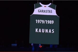 """V.Garasto marškinėliai iškilmingai pakilo į """"Žalgirio"""" arenos palubes (VIDEO)"""