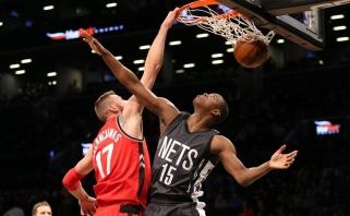 """Rezultatyviausiai žaidęs J.Valančiūnas svariai prisidėjo prie pergalės prieš """"Nets"""""""