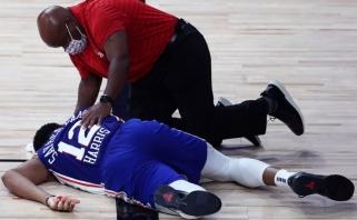 """Puolėjo krauju aplaistytose rungtynėse kritę """"76ers"""" praleido """"Celtics"""" į konferencijos pusfinalį"""