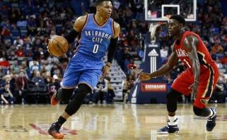 """D.Sabonis žaidė epizodiškai, agresyvus R.Westbrookas vedė """"Thunder"""" į pergalę"""