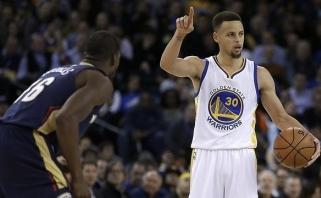 """S.Curry gimtadienio proga padovanojo sau dar vieną """"Warriors"""" pergalę (rezultatai)"""
