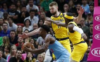 """D.Sabonis mėtė pro šalį, o """"Pacers"""" dramatiškai krito Majamyje"""