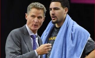 """""""Warriors"""" treneris mano, kad neverta rizikuoti K.Thompsonu, žaidėjas pritaria"""