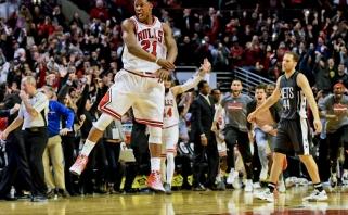 """NBA apžvalga: J.Butlerio su sirena išplėšė pergalę """"Bulls""""; K.Townso trigubas dublis"""