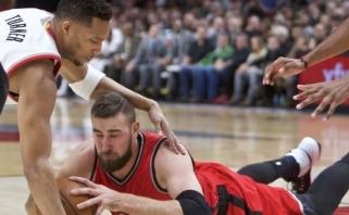 "J. Valančiūno dvigubas dublis padėjo ""Raptors"" vargais negalais laimėti Portlande"