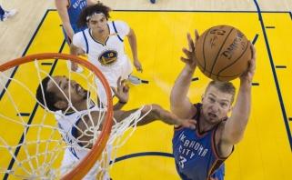 """Nepadėjo net penki D.Sabonio karjeros rekordai - K.Durantas parbloškė """"Thunder"""""""