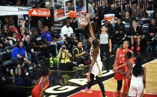 Krepšinio evoliucija: moterų rungtynėse - net trys galingi vienos žaidėjos dėjimai vaizdo įrašas