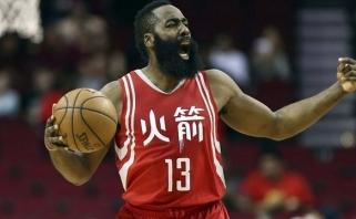 NBA: nerezultatyviausios nuo 2015-ųjų J.Hardeno rungtynės nesutrukdė laimėti (rezultatai)