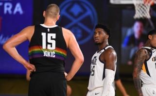 """Drama NBA atkrintamųjų starte: """"Jazz"""" koncertmeisteris pagerino Malone'o rekordą, bet pakluso Jokičiaus batutai"""