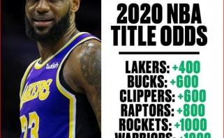 """JAV lažybininkai kito sezono NBA čempionų titulą skiria """"Lakers"""", """"Warriors"""" - šeštoje vietoje"""