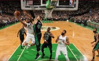 NBA: nukraujavusių čempionų pergalė ir dviejų pratęsimų trileris Bostone (rezultatai)