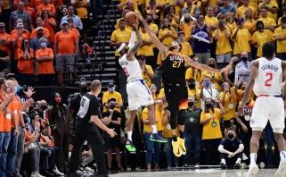 """NBA konferencijų pusfinaliai: """"76ers"""" atsitiesė, """"Jazz"""" startavo dramatiška pergale"""