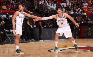 """NBA atkrintamosiose varžybose """"Bucks"""" peržengė """"Heat"""" barjerą"""