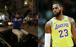 """""""Los Andželas - čempionų miestas!"""" LeBronas siūlo surengti bendrą paradą su """"Dodgers"""""""