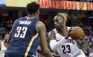 """Sunkus NBA čempionų startas: """"Cavs"""" tik mačo pabaigoje palaužė """"Pacers"""""""