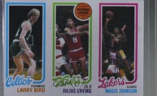 Krepšinio kortelė su L.Birdu, J.Ervingu ir M.Johnsonu parduota už fantastišką sumą