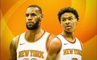 """""""New York Post"""" apžvalgininkas: LeBronas gali baigti karjerą """"Knicks"""" kartu su sūnumi Bronny"""
