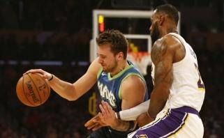 """Dončičius prieš LeBroną: """"Mavericks"""" nutraukė """"Lakers"""" 10 pergalių seriją (rezultatai)"""