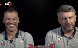 """Labai nuotaikinga """"Žalgirio"""" trenerių Š.Jasikevičiaus ir D.Maskoliūno dvikova"""