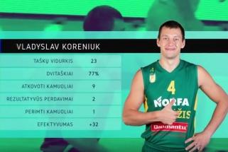 Sezono rungtynes sužaidęs V.Koreniukas - LKL savaitės MVP