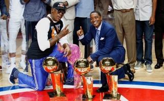"""""""Pistons"""" su D.Rodmanu ir I.Thomu paskutinį kartą pagerbė legendinę """"The Palace"""" areną"""