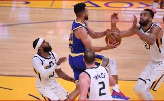 """Gimtadienio proga Curry atvedė """"Warriors'"""""""" į skambiausią pergalę (rekordinė """"Spurs"""" nesėkmė)"""