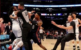 """""""Grizzlies"""" pergalė paženklinta agresyviu apsistumdymu, į kurį įsivėlė ir J.Valančiūnas"""