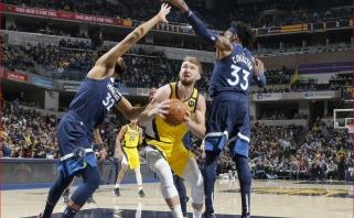"""Lemiamu metu puikia gynyba pasižymėjęs D.Sabonis ir """"Pacers"""" vėl įveikė """"Timberwolves"""""""