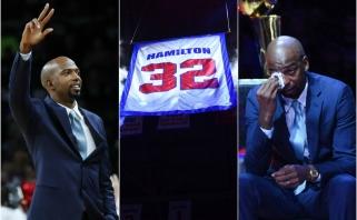 """Kai verkia vyrai: R.Hamiltono marškinėliai iškelti į """"Pistons"""" arenos palubes"""