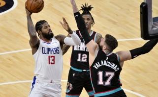 "Valančiūno vedami ""Grizzlies"" geležine gynyba pribloškė ""Clippers"" žvaigždes (rezultatai)"